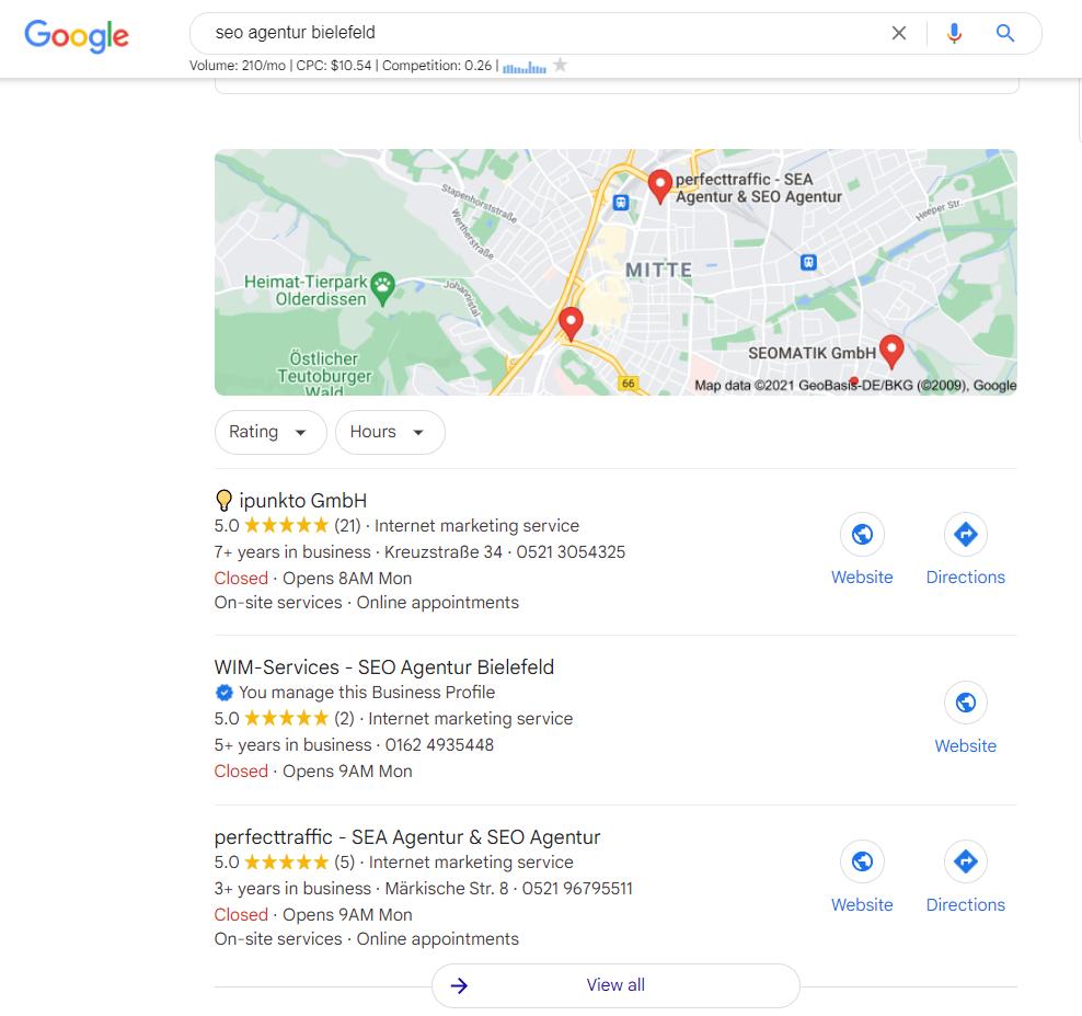 SEO Agentur Bielefeld - GMB Ranking